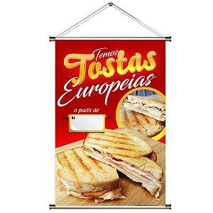 Banner para vender Tosta Europeia - 60x90cm
