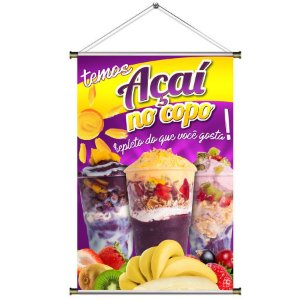 Banner de Açaí no Copo com Complementos - 60x90cm