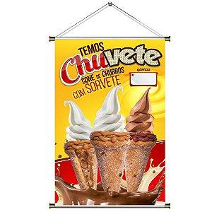Banner para vender Chuvete - Cone de Churros com Sorvete - 60x90cm