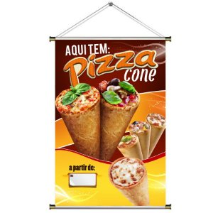 Banner para Vender Pizza Cone - 60x90cm