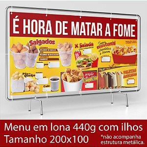 Lona com ilhos para Menu de Lanches e Batata Frita - 200x100cm