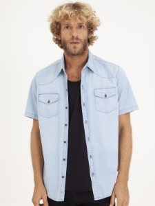 Camisa Jeans Manga Curta