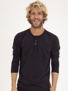 T-shirt Botão Preto Manga Longa