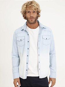 Camisa Jeans Degrade Longa
