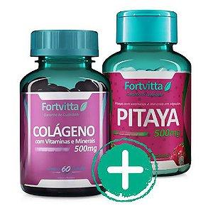 Combo - 01 Colágeno com Vitaminas e Minerais + 01 Pitaya - Auxilia imunidade e emagrecimento