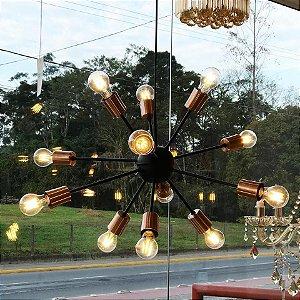 Lustre Pendente Sputnik Preto com Cobre Para 12 Lâmpadas E27