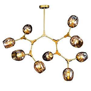 Lustre Pendente Krypton Molecula Dourado 9 Lâmpadas