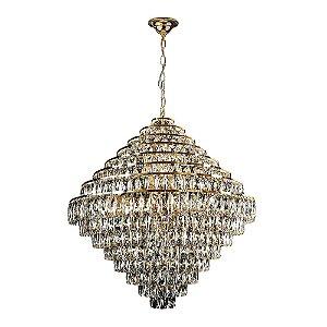 Lustre Pendente Florença Belle 80cm Dourado com Transparente