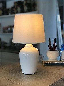 Abajur de Mesa Taschibra Cerâmica Pottery Branco