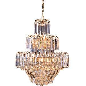 Lustre de Cristal Floratas Dourado com Cristais Transparente