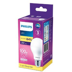 Lâmpada LED 16W Branco Quente 3.000K 1521 Lúmens Philips