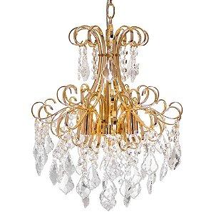 Lustre Pendente Clássico Malipiero Dourado com cristais Transparente Tupiara