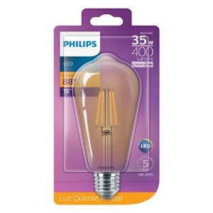 Kit 4 Lâmpadas Retrô Filamento LED 4W ST64 400lm Bivolt Philips