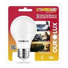 Lâmpada Ourolux Controled 3 tons de branco com toque no interruptor