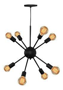 Lustre Pendente Moderno Sputnik Átomo Preto 8 Lâmpadas