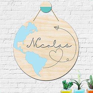 Placa Decorativa Nome Personalizado Decoração Mapa