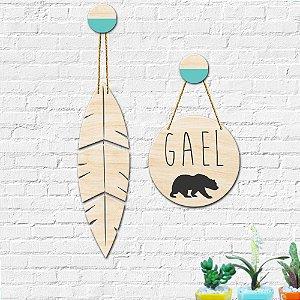 Placa Decorativa Nome Personalizado Decoração Pena Urso