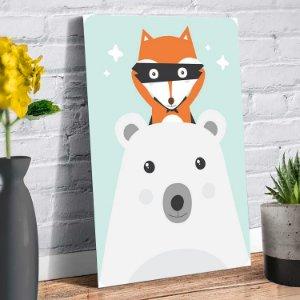 Placa Decorativa Decoração Infantil Raposa e Urso