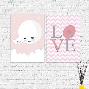 Kit Placas Decorativas Decoração Infantil Lua Love