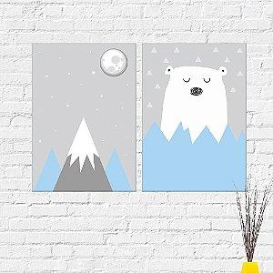 Kit Placas Decorativas Decoração Infantil Urso Montanha