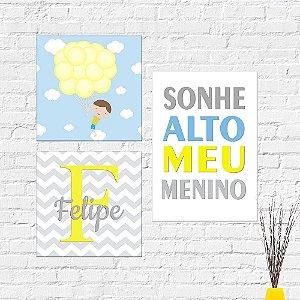 Kit Placas Decorativas Decoração Infantil Sonhe Alto Menino