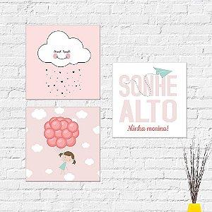 Kit Placas Decorativas Decoração Infantil Sonhe Ato Balão Nuvem
