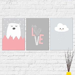 Kit Placas Decorativas Decoração Infantil Urso Love Nuvem