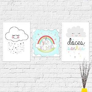 Kit Placas Decorativas Decoração Infantil Nuvem Unicórnio