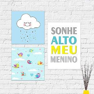 Kit Placas Decorativas Decoração Infantil Sonhe Alto Nuvem