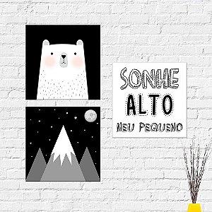 Kit Placas Decorativas Decoração Infantil Sonhe Alto Montanha Urso