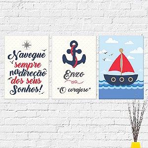 Kit Placas Decorativas Decoração Infantil Frase Nome Barco