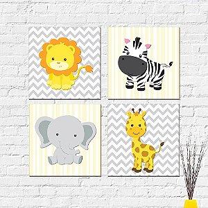 Kit Placas Decorativas Decoração Infantil Animais