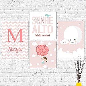 Kit Placas Decorativas Decoração Infantil Sonhe Alto Menina