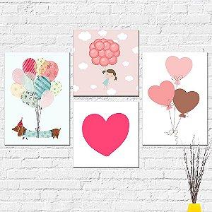 Kit Placas Decorativas Decoração Infantil Menina Coração