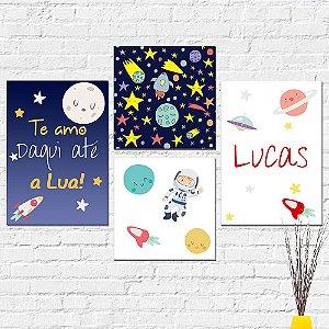 Kit Placas Decorativas Decoração Infantil Astronauta