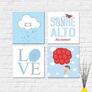 Kit Placas Decorativas Decoração Infantil Menino Love Nuvem