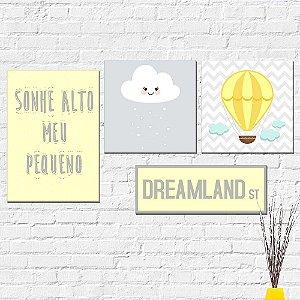 Kit Placas Decorativas Decoração Infantil Sonhe Alto Pequeno