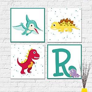 Kit Placas Decorativas Decoração Infantil Dinossauros