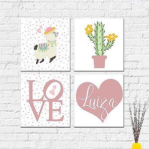 Kit Placas Decorativas Decoração Infantil Lhama Cacto Love