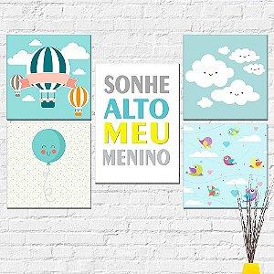 Kit Placas Decorativas Decoração Infantil Sonhe Alto Menino Balão