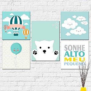 Kit Placas Decorativas Decoração Infantil Urso Balão
