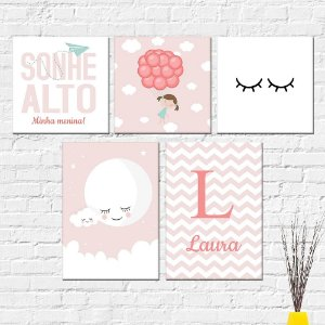 Kit Placas Decorativas Decoração Infantil Sonhe Alto Menina Lua