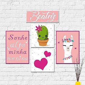 Kit Placas Decorativas Decoração Infantil Lhama Cacto Coração