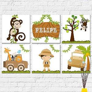 Kit Placas Decorativas Decoração Infantil Safari