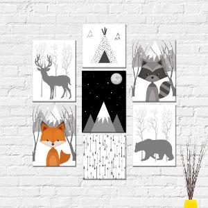Kit Placas Decorativas Decoração Infantil Escandinavo Nórdico