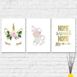Kit Placas Decorativas Decoração Home Sweet Home Unicórnio