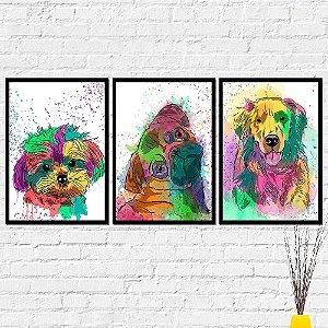 Kit Placas Decorativas Decoração Cachorros