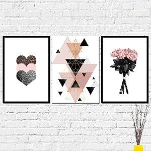 Kit Placas Decorativas Decoração Flores Coração Abstrato
