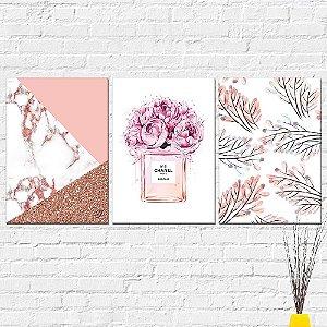 Kit Placas Decorativas Decoração Abstrato Perfume Folhas