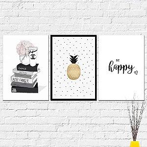Kit Placas Decorativas Decoração Livros Abacaxi Happy